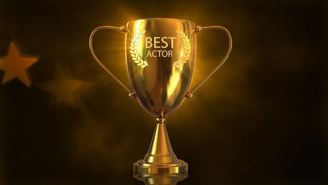 3D Trophy Gold Award, 3D Illustration