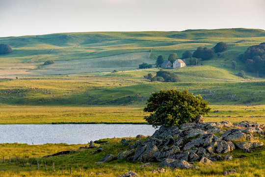 Farm, lake and meadows: a landscape of the Aubrac plateau in France
