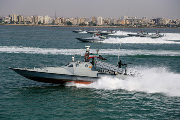 Naval company drills during the annual military parade in Bandar Abbas
