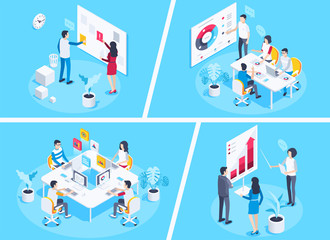isometric vector image on a blue background, young people work in the office at the same table, teamwork for success