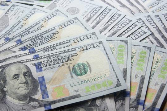 money background. american hundred dollar bills.