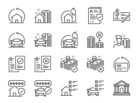 Refinance line icon set. Included icons as mortgage, loan, interest rate, asset, home, car and more.