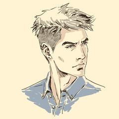 Fashion man, close up portrait. Modern stylish handsome guy
