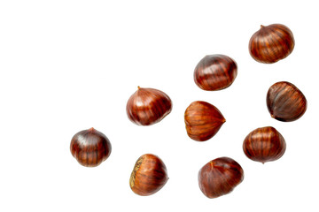 Chestnut Isolated. Ripe sweet chestnuts for Christmas  on white background. Top view. Flat lay.
