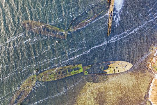 Schiffswracks auf der Halbinsel Bug auf Rügen