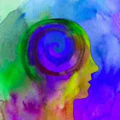 Foto op Canvas Spiraal Dipinto acquerello bello mente umana spirale psiche