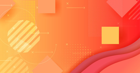Geometric background Orange gradient screen with circles and squares