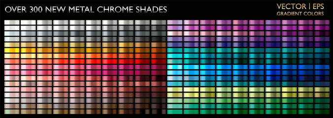 Metal gradient color set. Chrome texture surface background template for screen, mobile, digital, web. Metallic and chromium shade combination. Gold, silver, bronze colorful palette collection.