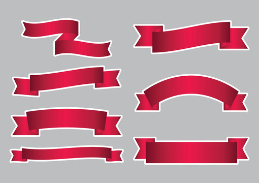 set of red ribbon banner icon with white stroke,