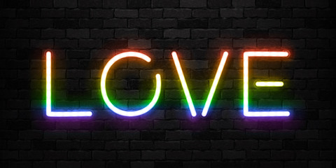 Vector realistic isolated neon sign of Love in rainbow color logo for template decoration and invitation covering on the wall background. Concept of Pride.