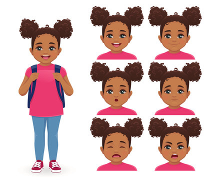 School girl with backpack emotions set isolated vector illustration
