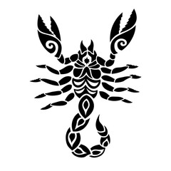 Black and white tribal tattoo art with scorpion
