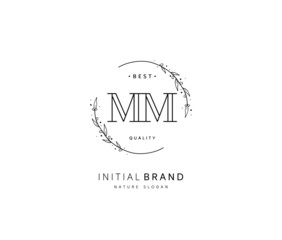 M MM Beauty vector initial logo, handwriting logo of initial signature, wedding, fashion, jewerly, boutique, floral and botanical with creative template for any company or business.