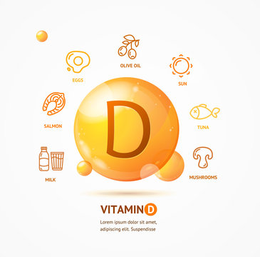 Realistic Detailed 3d Vitamin D Card Concept. Vector