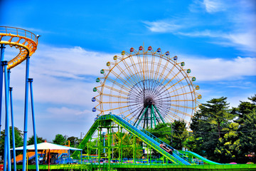 Fotobehang Amusementspark Ferris wheel in Isesaki-city, Japan.