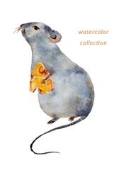 チーズを持ったネズミ 水彩画