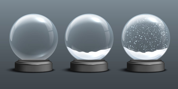 Snow globe templates. Empty glass snow globe and snow globes with snow on dark background. Vector Christmas and New Year design elements.