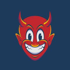 happy devil cartoon cartoon illustration in vintage style