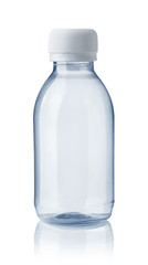 Front view of empty plastic clear bottle