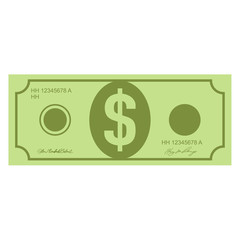 Illustration of money icons. Dollar currency banknote green. Dollars bill, money banknote. Dollar bill isolated on white background.