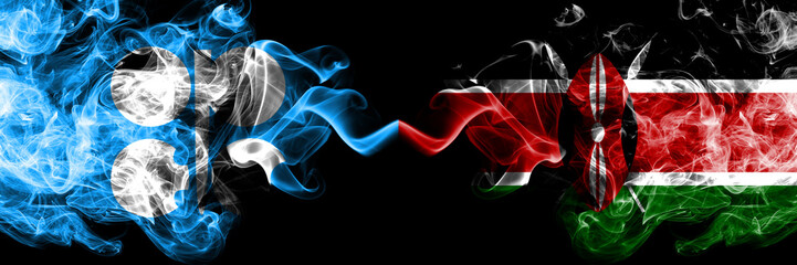 Opec vs Kenya, Kenyan abstract smoky mystic flags placed side by side. Thick colored silky smoke flags of Opec and Kenya, Kenyan Wall mural