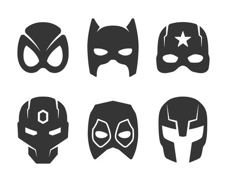 black super hero face mask icons set