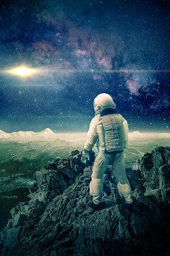 Astronaut climbs mountain on the moon -3D-Illustration, ,