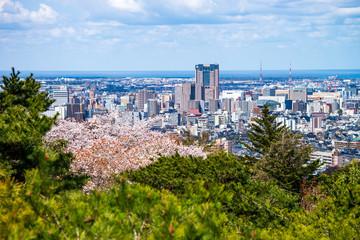 桜が咲く春の卯辰山・望湖台から金沢駅方面の眺望