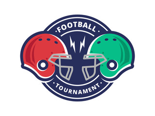 American football tournament logo, emblem, designs templates with american football helmet on a white background