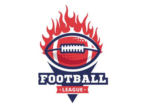 American football logo, emblem, designs templates with american football ball on fire on a white background
