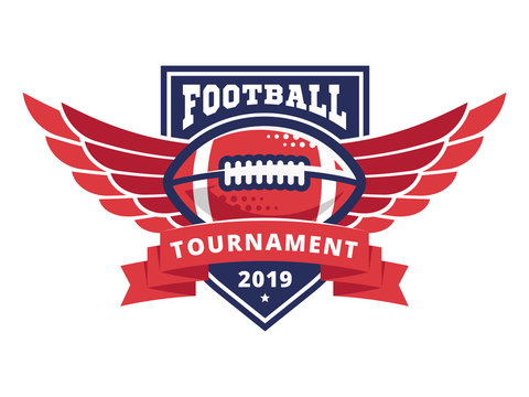 American football tournament logo, emblem, designs templates with american football ball and wings on a white background
