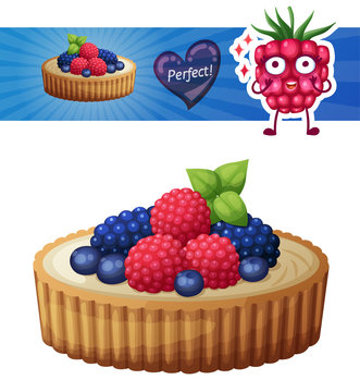 Tart dessert with berries icon isolated on white background. Cartoon vector illustration with raspberry character