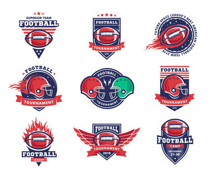 American football logo, emblem collections, designs templates on a white background
