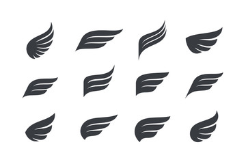 Wings vector Collection. Eagle bird heraldic flying Falcon Phoenix Hawk logo.