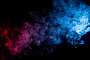abstract blue and purple smoke on black background