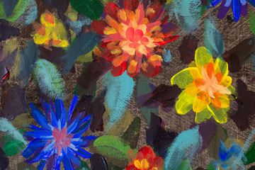 Collection of designer flowers oil paintings. Decoration for interior. Modern abstract flower art on canvas. Picture with different blooming background
