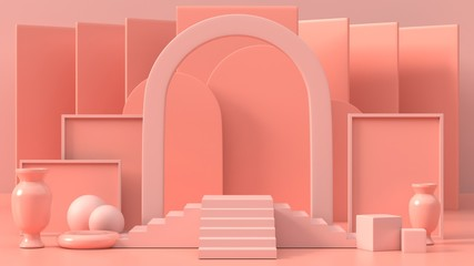 3d render image of pink geometric podium background for product or commercial.3d image of abstract podium background