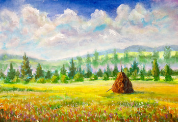 Countryside warm rural art painting with haystack