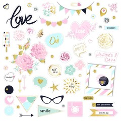 Set of cute pink and gold vector illustrations. Stickers pack for scrapbooking. Flowers, sunglasses, diamonds, sweet, hearts. Refined chipbord design.