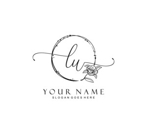 Initial LU beauty monogram and elegant logo design, handwriting logo of initial signature, wedding, fashion, floral and botanical with creative template