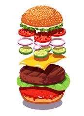 Exploded view American cheese burger or hamburger
