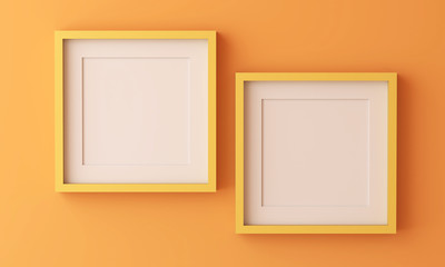 Two yellow picture frame for insert text or image inside on orange color.