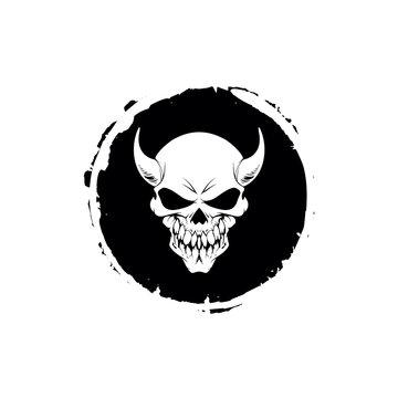 demons skull with horns. Vector illustration