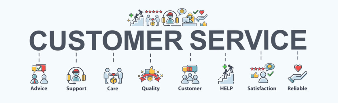 Customer service banner web icon for business, help, mind, advice, customer care, satisfaction, experience, quality and support. Flat cartoon vector infographic.