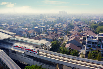 Jakarta MRT moving on the elevated tracks
