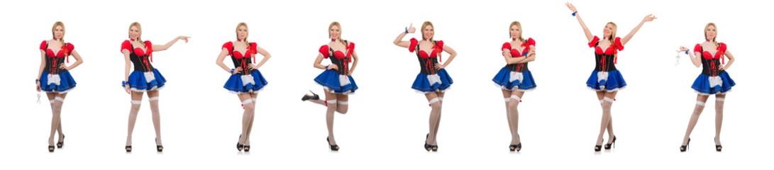 Pretty girl in bavarian dress isolated on white