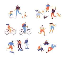 Summer Outdoor activities - walking with dog, cycling, skateboarding, jogging, picnic. Crowd of people. Various People vector set.  Male and female flat characters isolated on white background.