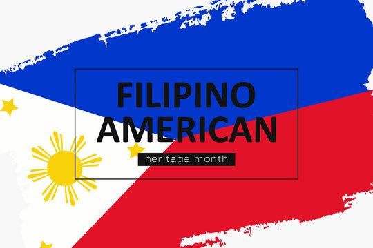 Hand draw Filipino American heritage flag vector