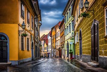 Street of the old city Ljubljana after the rain. Ljubljana capital of Slovenia. Wall mural