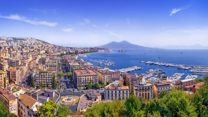 Poster Naples the beautiful coastline of napoli, italy